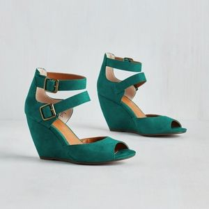 Modcloth Exactly as Planned Wedge in Teal